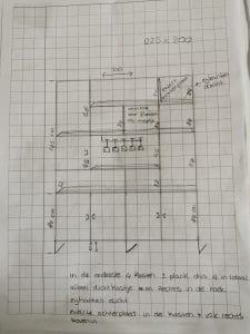 tekening van een maatwerk vakkenkast